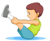 Boy Stretching Physical Fitness Clipart